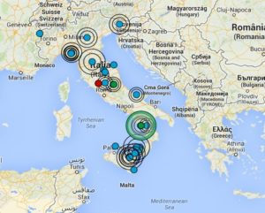 earthquakes italy map